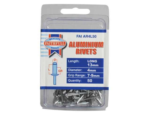 Faithfull Aluminium Rivets 4mm x 13mm Long Pack of 50
