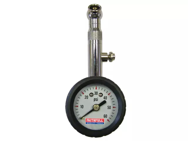 FAITHFULL TYRE PRESSURE DIAL GAUGE & AIR RELEASE 60PSI
