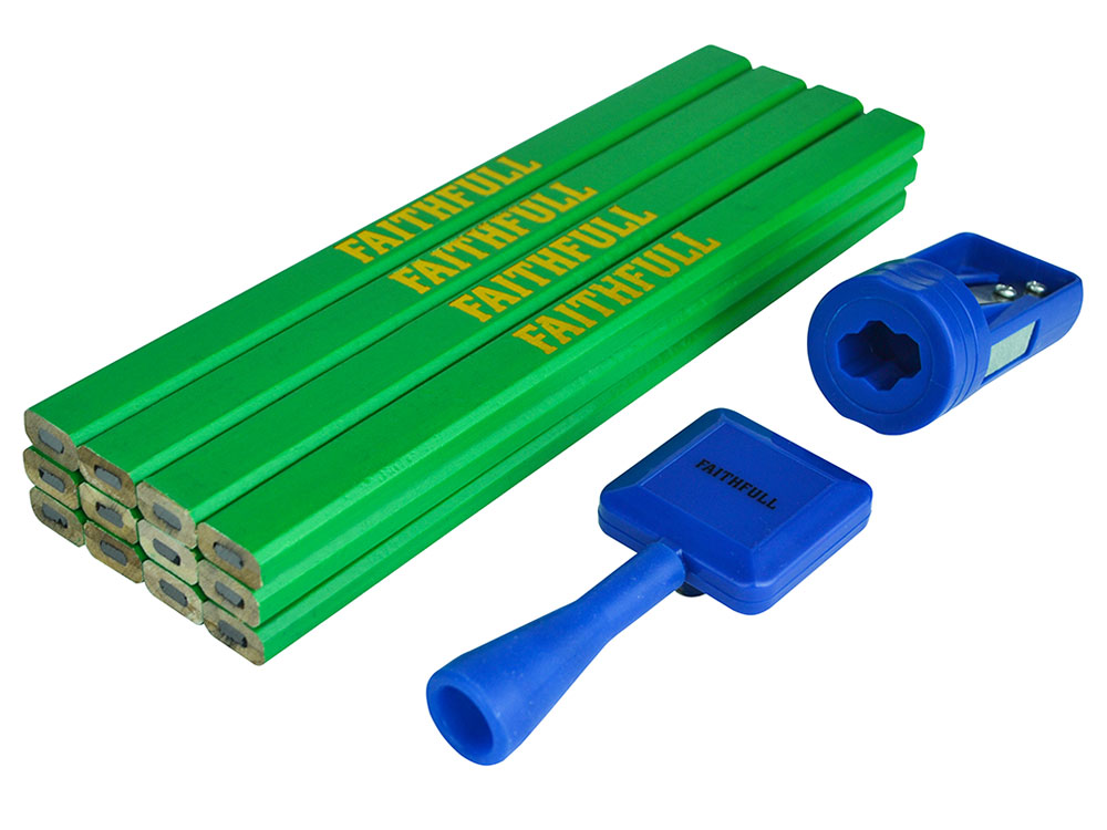 Faithfull 12 Hard Green Carpenter's Pencils