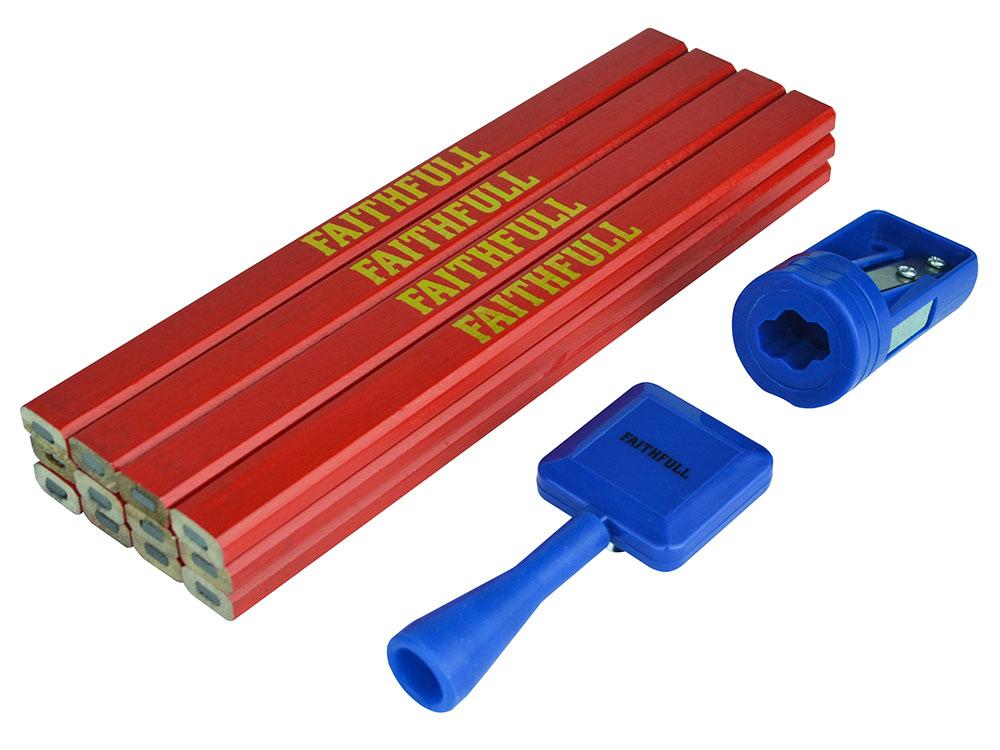 Faithfull 12 Medium RED Carpenter's Pencils