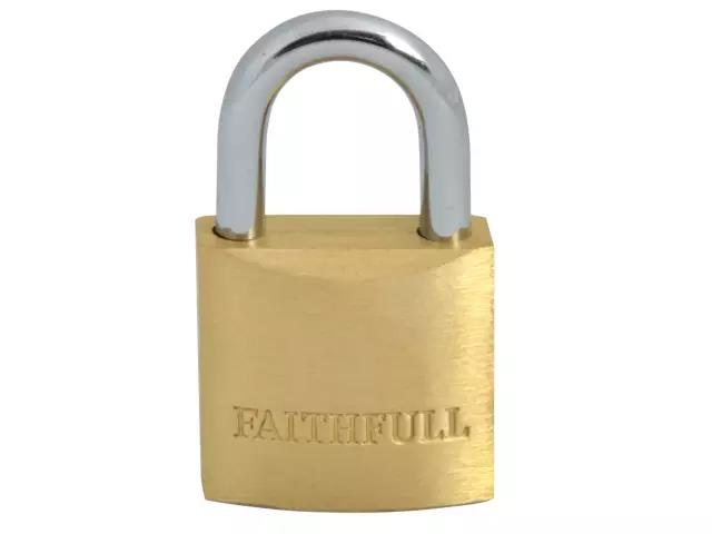 FAITHFULL BRASS PADLOCK 25MM - 3 KEYS