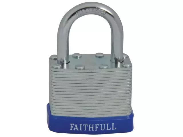 FAITHFULL PADLOCK LAMINATED STEEL 40MM - 3 KEYS