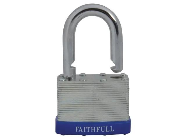 FAITHFULL PADLOCK LAMINATED STEEL 50MM - 3 KEYS