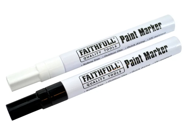 Faithfull Paint Marker Pens Twin Pack - Black / White