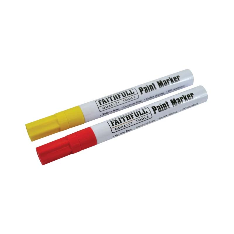 Faithfull Paint Marker Pens Twin Pack - Red / Yellow - FAIPMYELRED