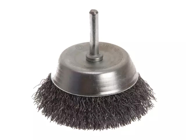 FAITHFULL WIRE CUP BRUSH 75MM X 6MM SHANK 0.30MM