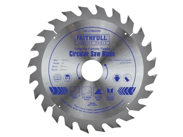 FAITHFULL CIRCULAR SAW BLADE 180MM X 30MM X 24TH POS TCT