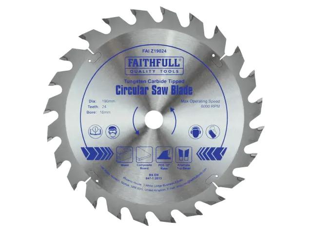 FAITHFULL CIRCULAR SAW BLADE 190 X 16MM X 24T FAST RIP
