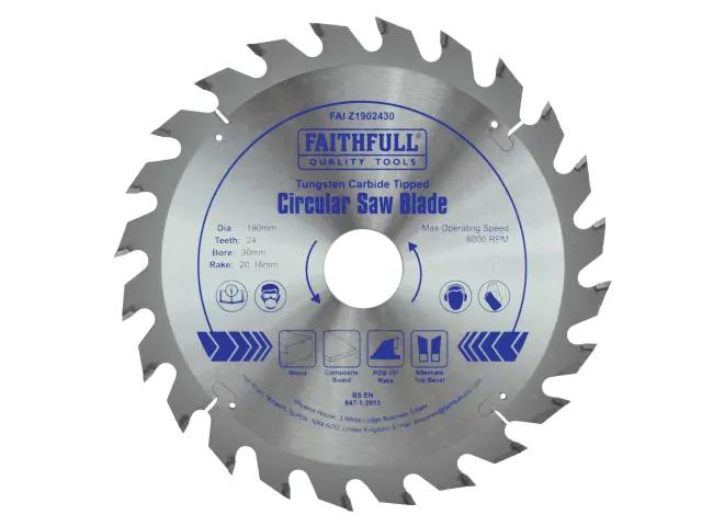 FAITHFULL CIRCULAR SAW BLADE 190 X 16/20/30MM X 24T FAST RIP