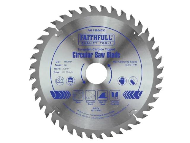 FAITHFULL CIRCULAR SAW BLADE 190 X 16/20/30MM X 40T FINE CROSS CUT