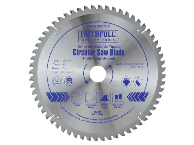 FAITHFULL CIRCULAR SAW BLADE 250 X 30MM X 60T TCG FINE FINISH NEG