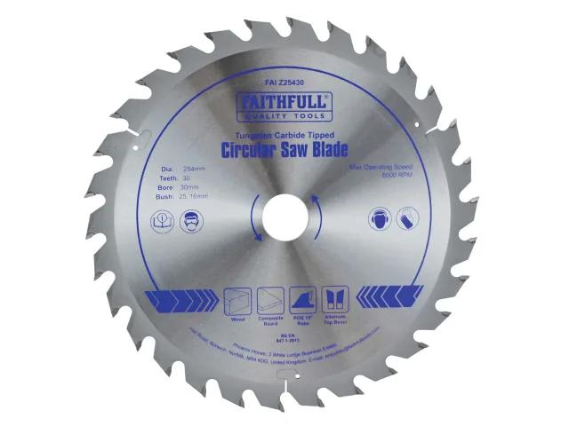 FAITHFULL TCT CIRCULAR SAW BLADE - 254MM X 30 X 30T POS