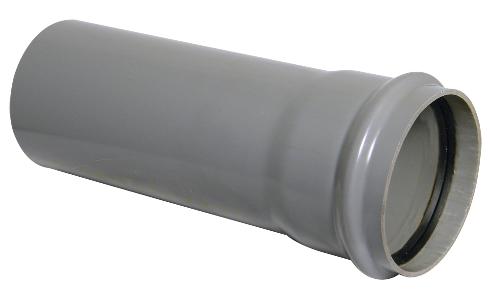 Floplast SP4GR 110mm Ring Seal Soil Pipe with Single Socket 4 Metre - Grey