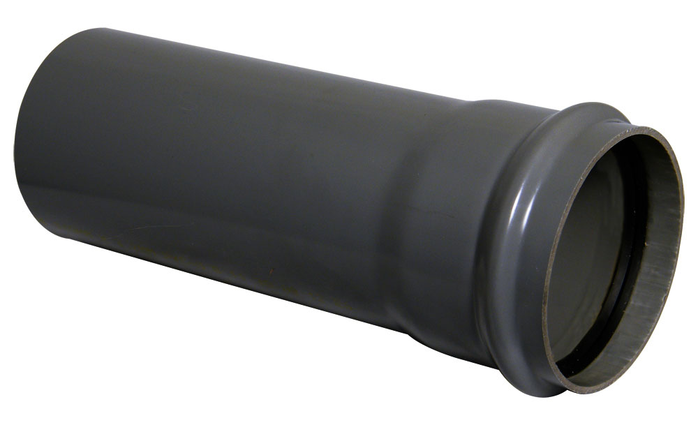 "Floplast SP3AG 110mm/4"" Ring Seal Soil Pipe with Single Socket 3 Metre - Anthracite Grey"