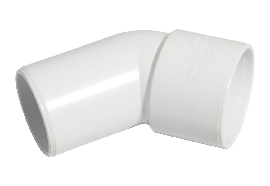 Floplast WS76WH 32mm (36mm) ABS Solvent Weld Waste System 135 Degree (45) Conversion Bend - White
