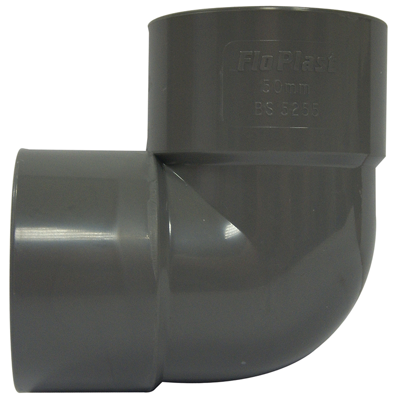 Floplast WS11GR 40mm (43mm) ABS Solvent Weld Waste System 90 Degree Bend - Grey