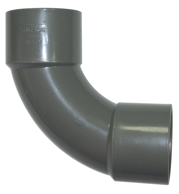 Floplast WS15GR 40mm (43mm) ABS Solvent Weld Waste System 92.5 Degree Swept Bend - Grey