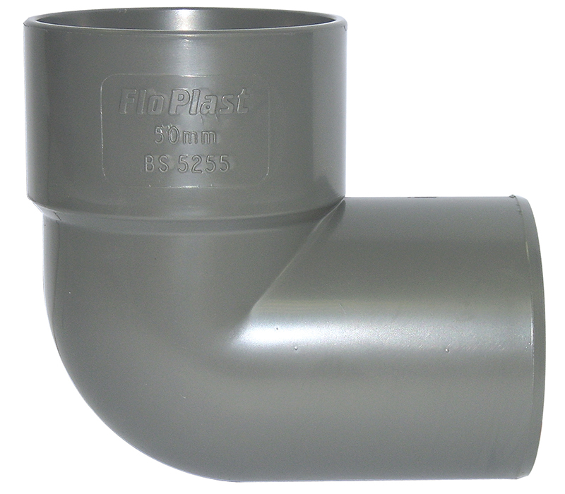 Floplast WS27GR 40mm (43mm) ABS Solvent Weld Waste System 90 Degree Conversion Bend - Grey