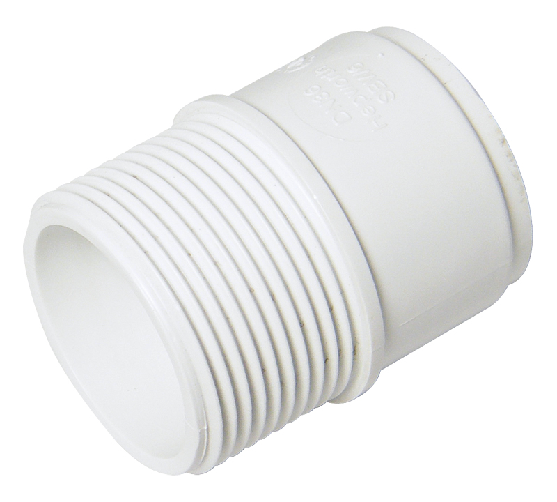 FLOPLAST WS64WH 40MM ABS SOLVENT WELD WASTE - MALE ADAPTOR - WHITE