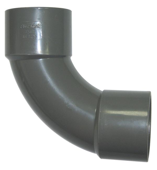 FLOPLAST WS16GR 50MM ABS SOLVENT WELD WASTE - 92.5* SWEPT BEND - GREY