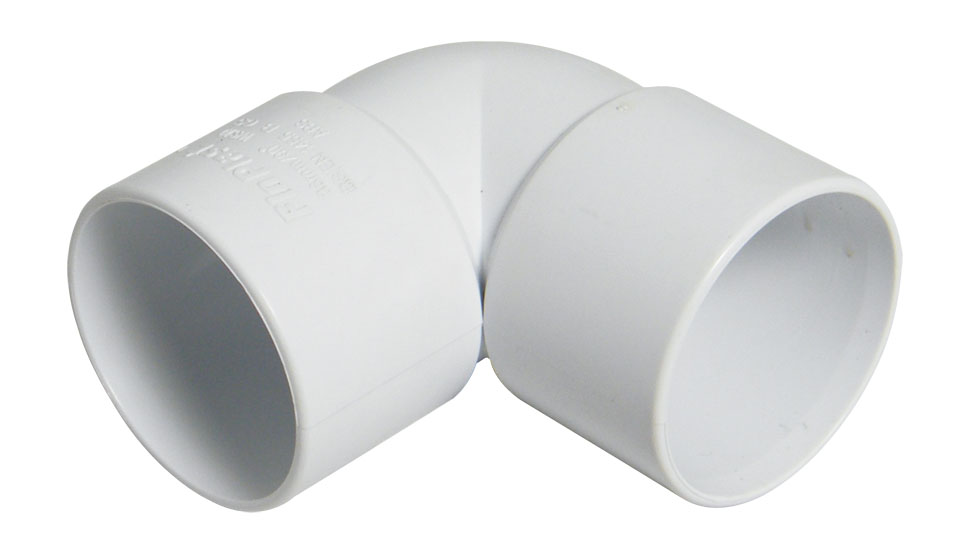 FLOPLAST WS12WH 50MM ABS SOLVENT WELD WASTE - 90* BEND - WHITE