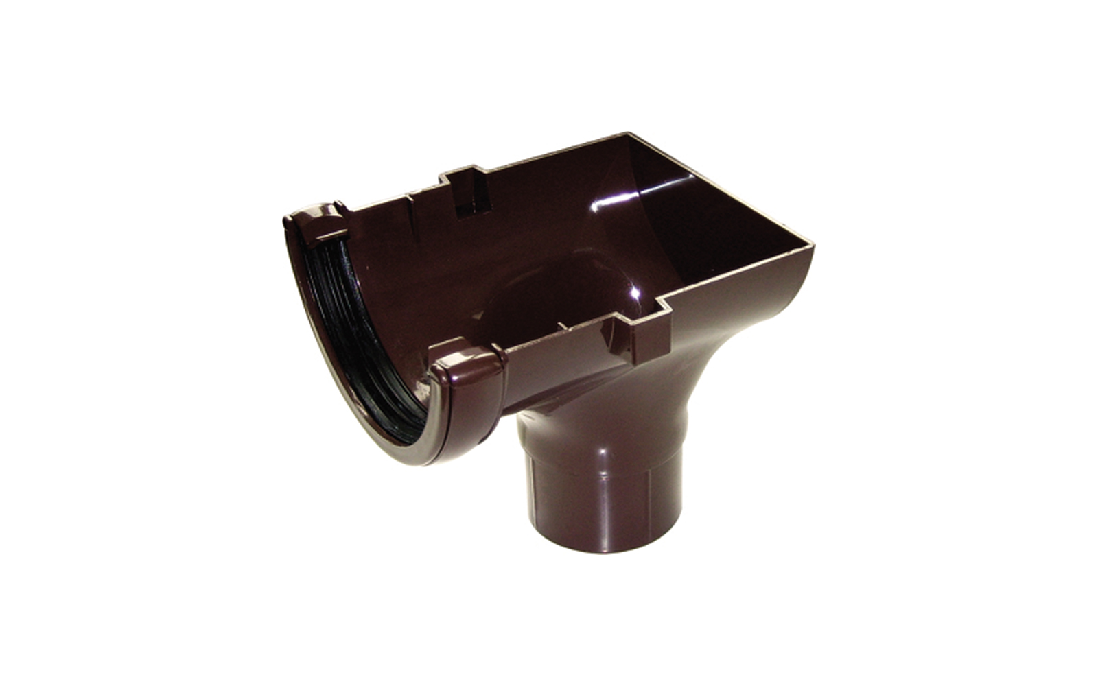 FLOPLAST RO2BR HALF ROUND GUTTER - STOPEND OUTLET - BROWN