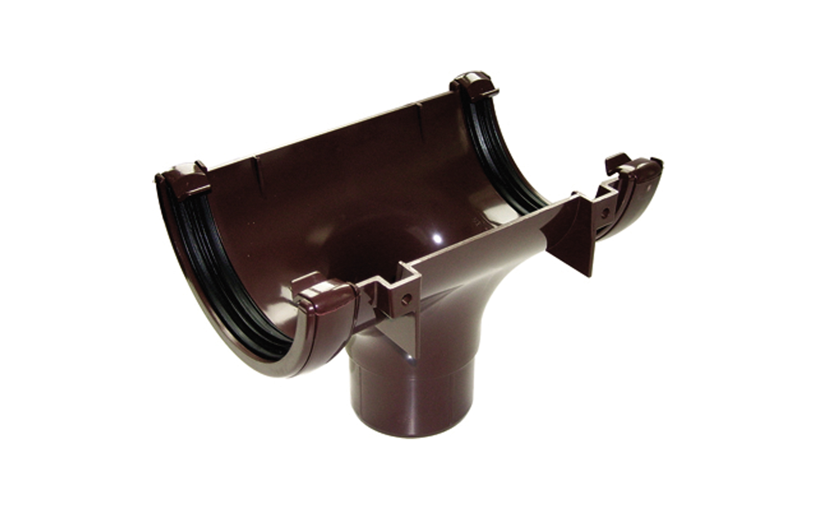 FLOPLAST RO1BR HALF ROUND GUTTER - RUNNING OUTLET - BROWN