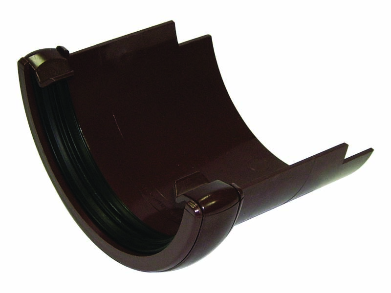 Floplast RD5BR 112mm Half Round Gutter - Cast Iron Adaptor - Brown