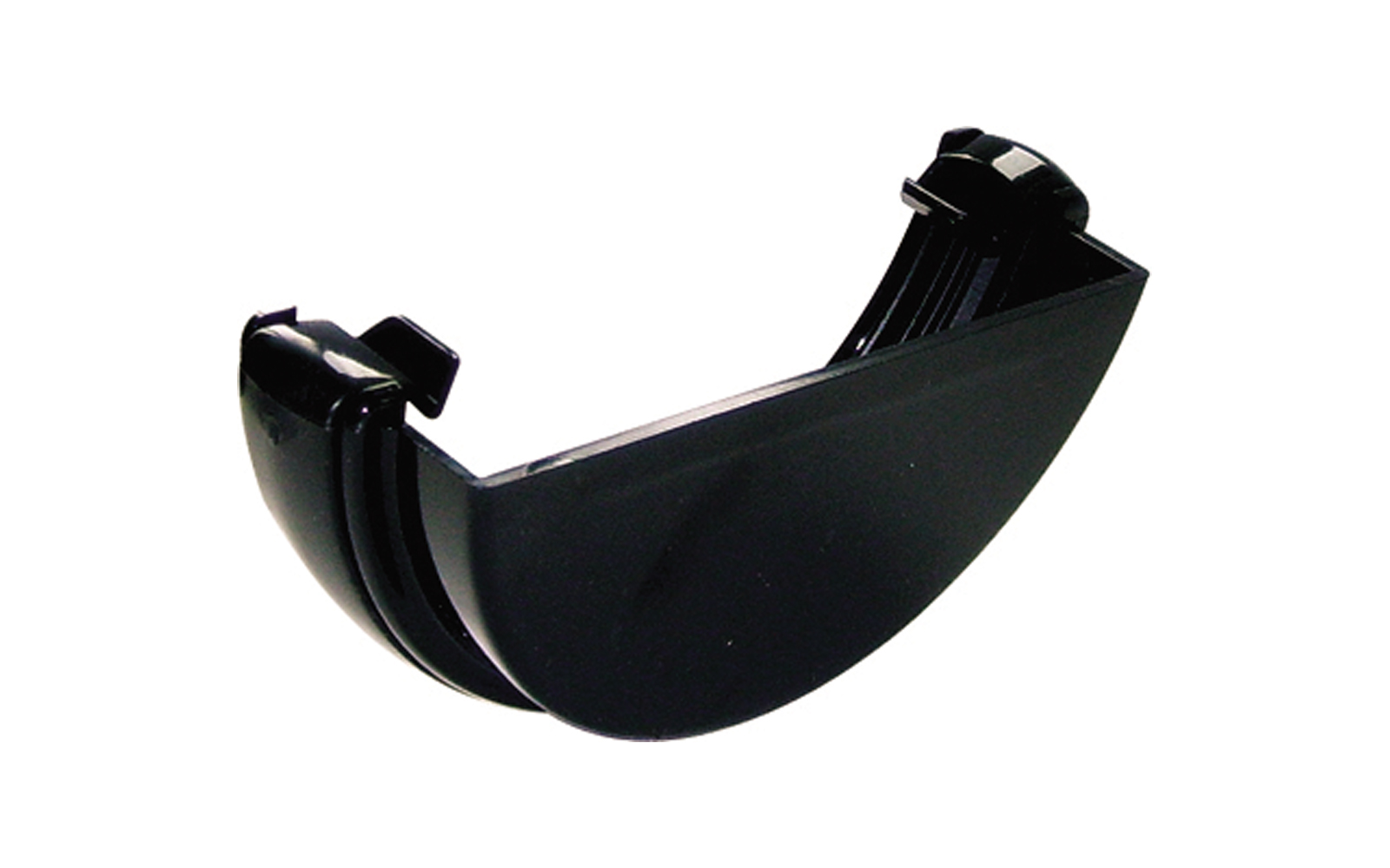 FLOPLAST RE1BL HALF ROUND GUTTER - EXTERNAL STOPEND - BLACK