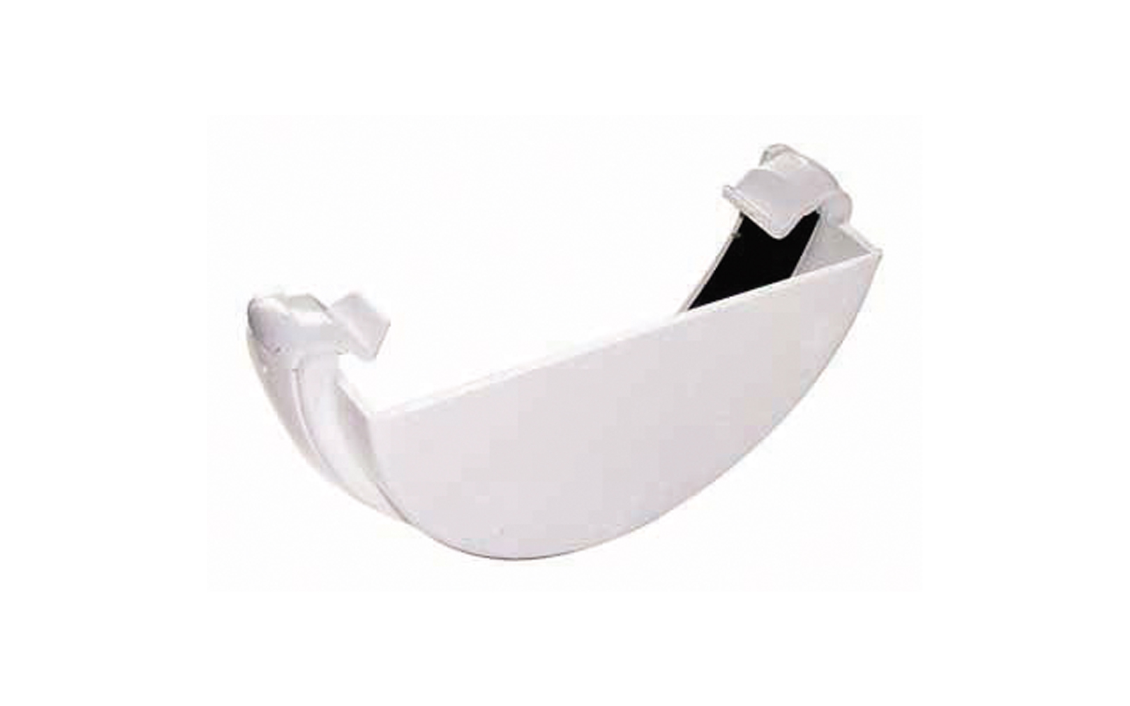 Floplast RE1WH 112mm Half Round Gutter - External Stopend - White