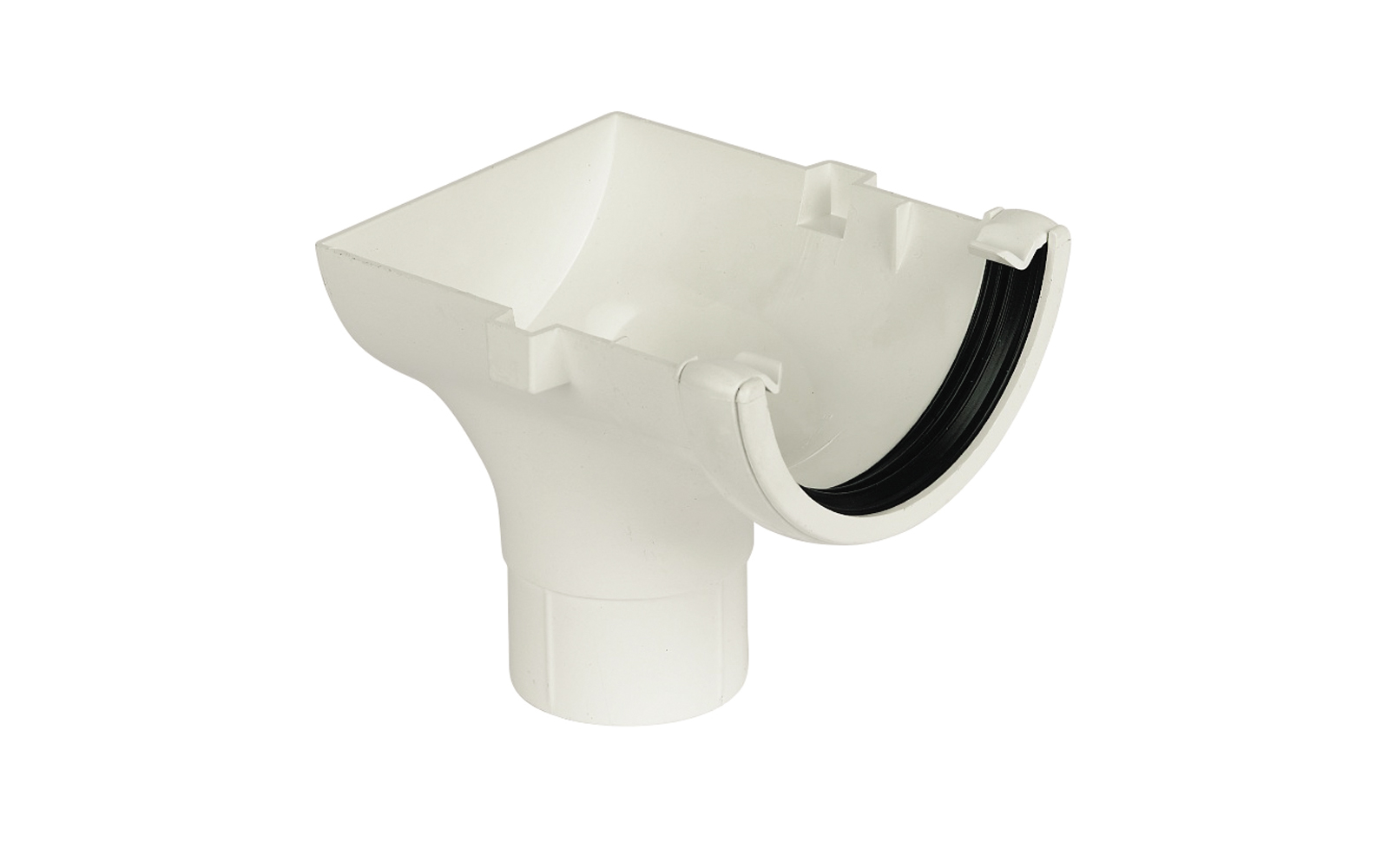 Floplast RO2WH 112mm Half Round Gutter - Stopend Outlet - White