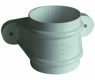 Floplast RS2WH 68mm Round Downpipe - Pipe Socket With Fixing Lugs - White