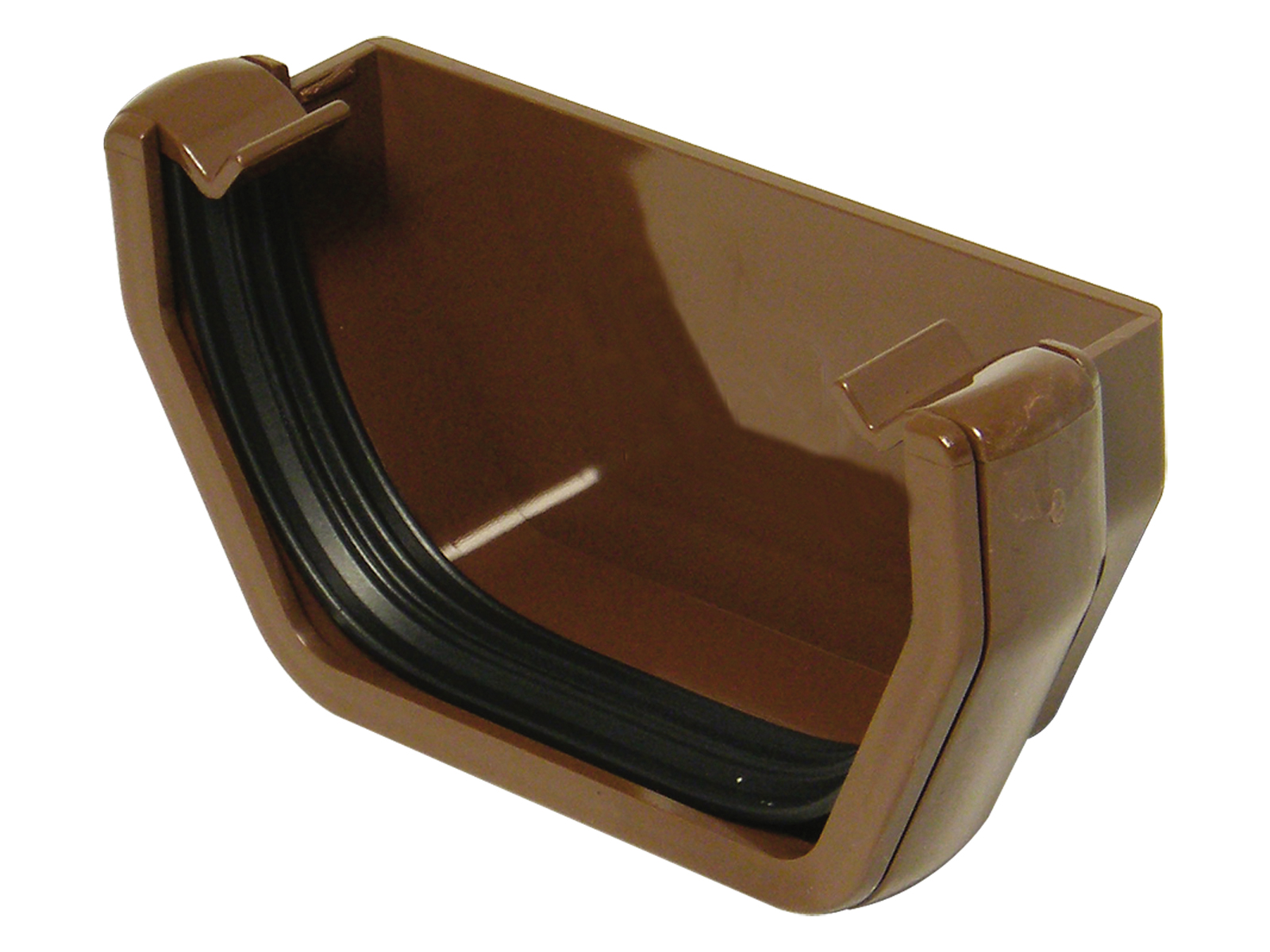 FLOPLAST RES1BR SQUARE LINE GUTTER - EXTERNAL STOPEND - BROWN