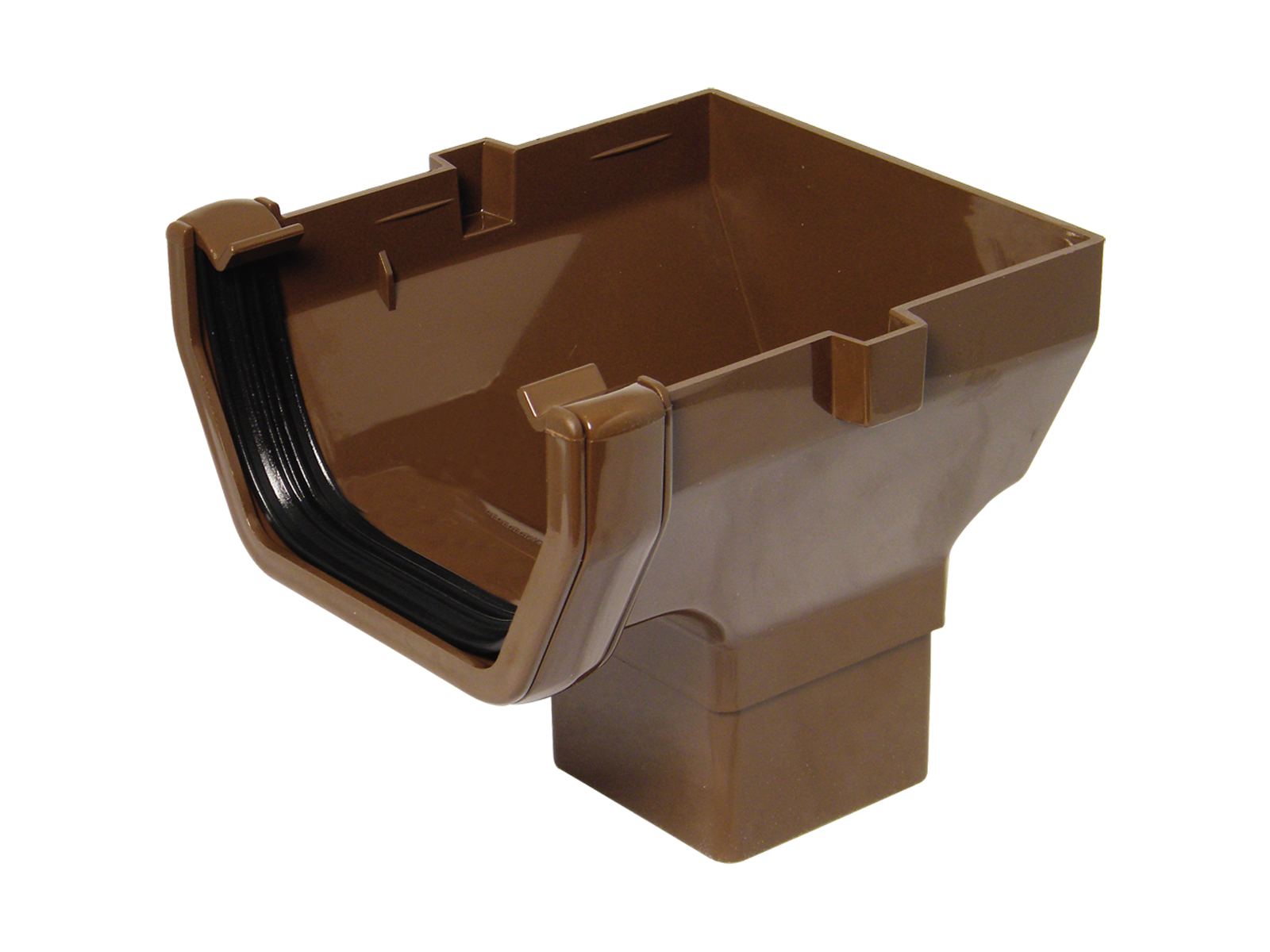 FLOPLAST ROS2BR SQUARE LINE GUTTER - STOP END OUTLET - BROWN