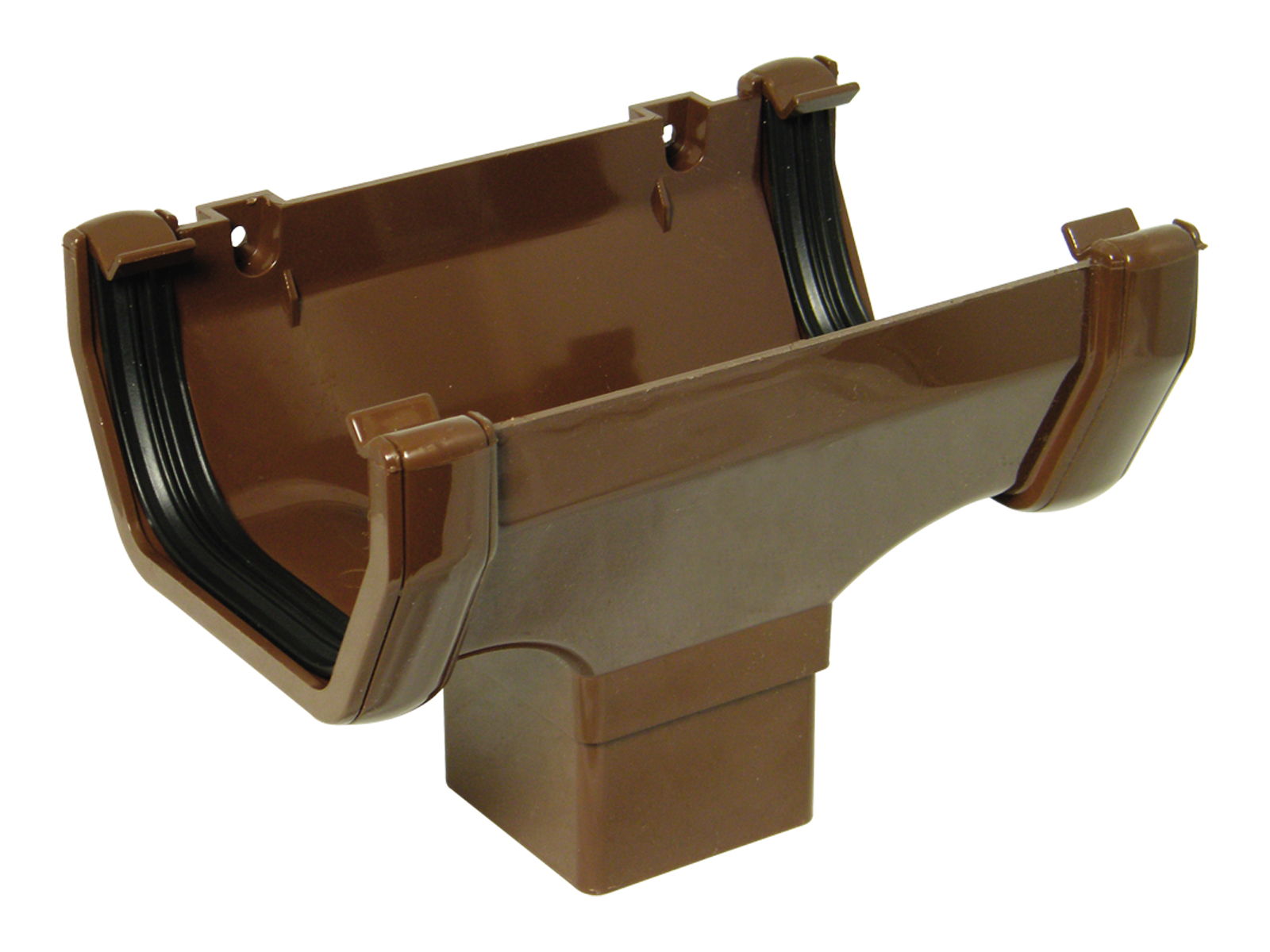 FLOPLAST ROS1BR SQUARE LINE GUTTER - RUNNING OUTLET - BROWN