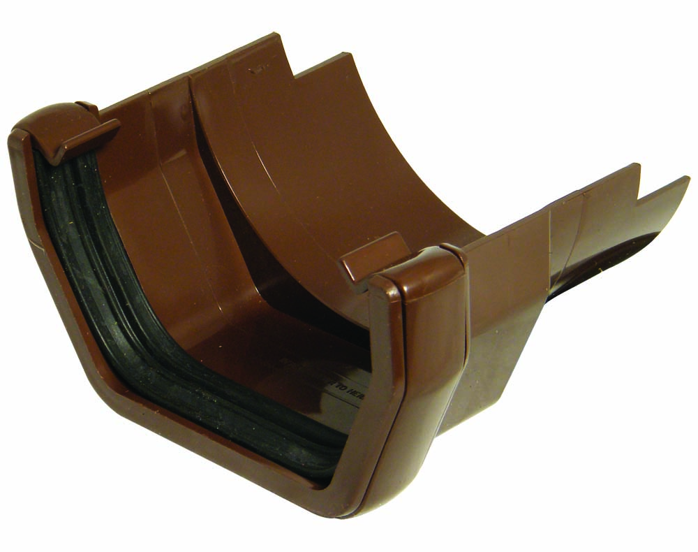 FLOPLAST RDS5BR SQUARE GUTTER TO CAST IRON HALF ROUND - ADAPTOR - BROWN