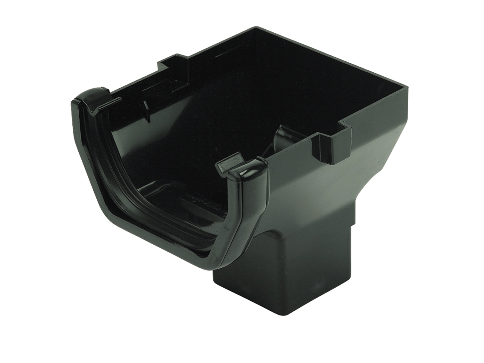 FLOPLAST ROS2BL SQUARE LINE GUTTER - STOP END OUTLET - BLACK