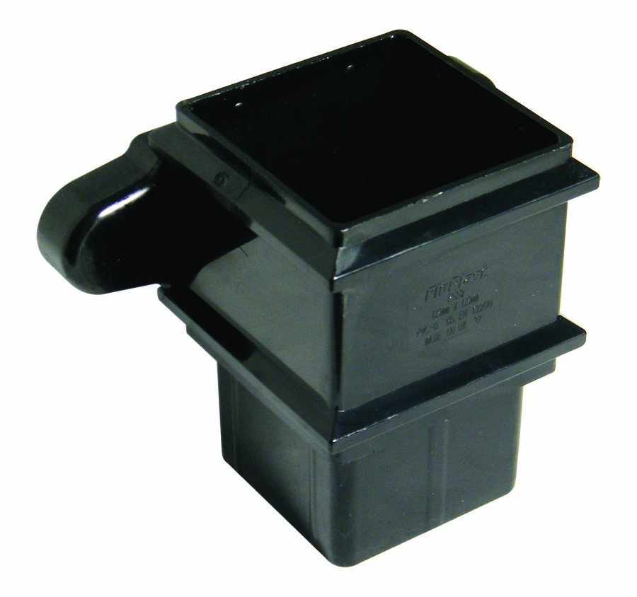 FLOPLAST RSS2BL 65MM SQUARE DOWNPIPE - CLASSIC PIPE SOCKET - BLACK
