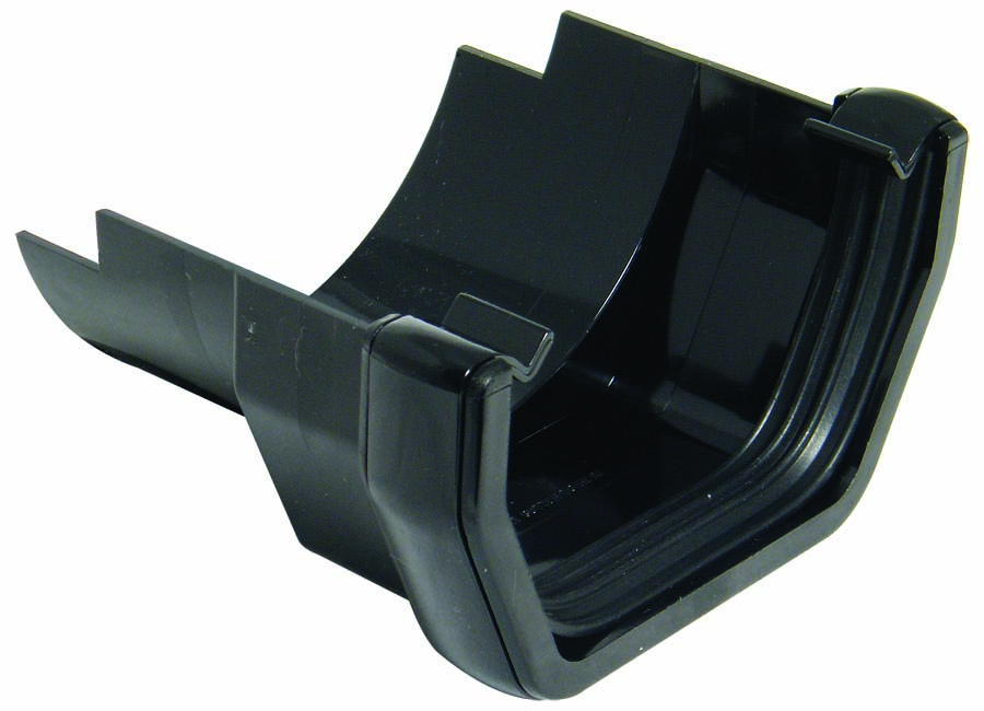 FLOPLAST RDS5BL SQUARE GUTTER TO CAST IRON HALF ROUND - ADAPTOR - BLACK