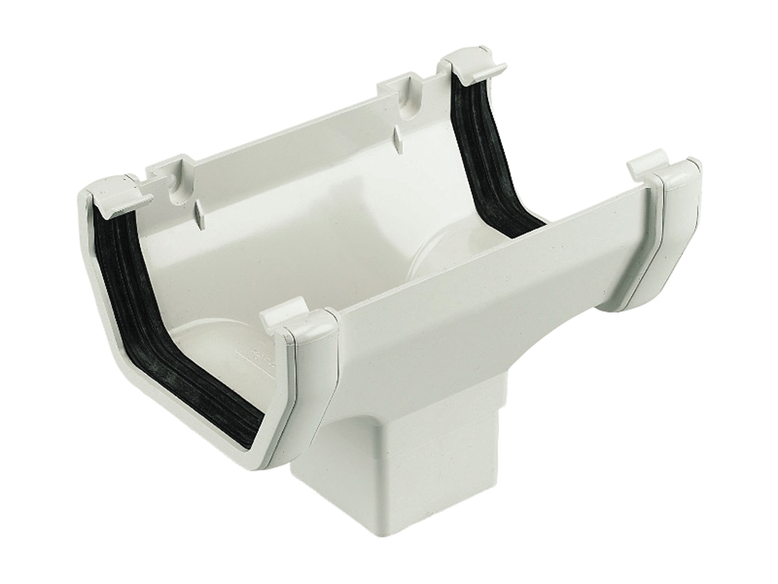 FLOPLAST SQUARE LINE GUTTER - ROS1 RUNNING OUTLET - WHITE