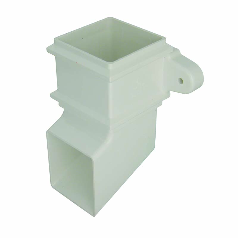 FLOPLAST RBS4WH 65MM SQUARE DOWNPIPE - CLASSIC SHOE - WHITE