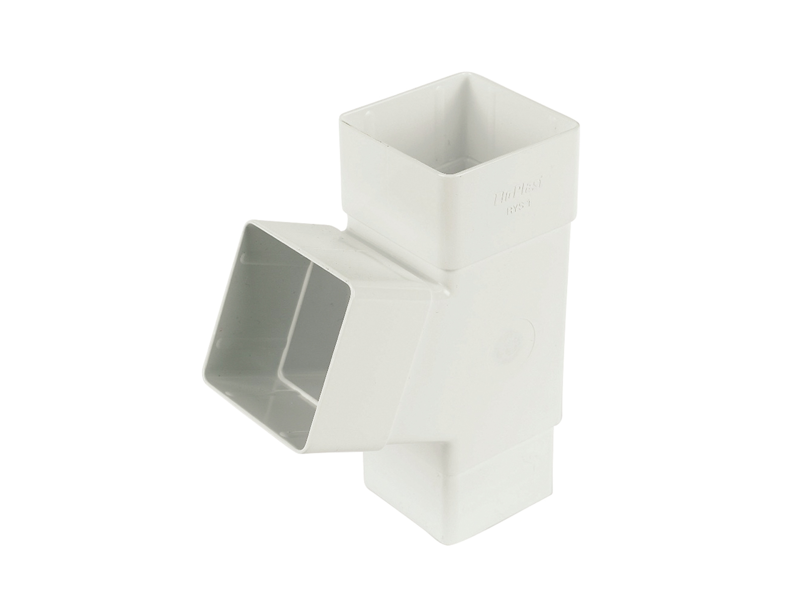 FLOPLAST 65MM SQUARE DOWNPIPE - RYS1 67.5* BRANCH - WHITE