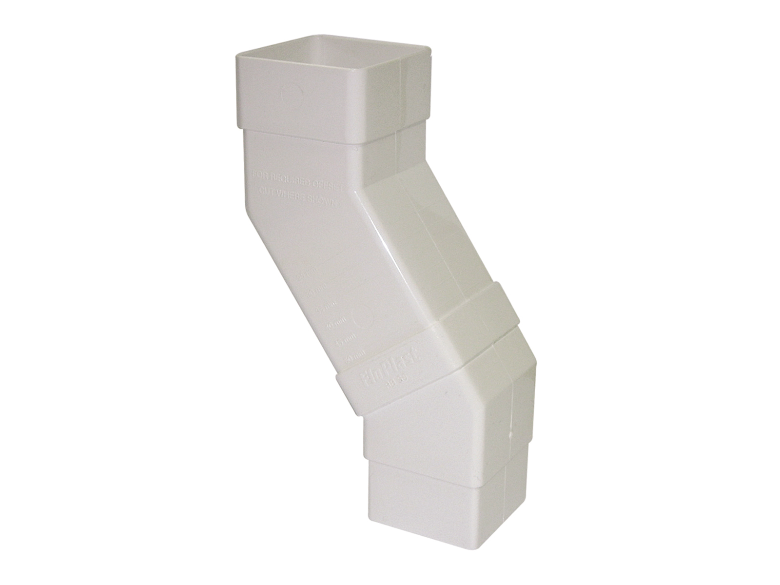 FLOPLAST 65MM SQUARE DOWNPIPE - RBS5 ADJUSTABLE OFFSET BEND - WHITE