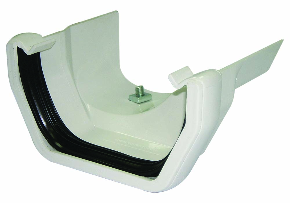 FLOPLAST RDS3WH SQUARE GUTTER TO CAST IRON OGEE - RIGHT HAND ADAPTOR - WHITE