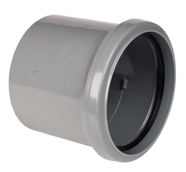 "Floplast SP124GR 110mm/4"" Ring Seal Soil System - Coupling Single Socket - Grey"
