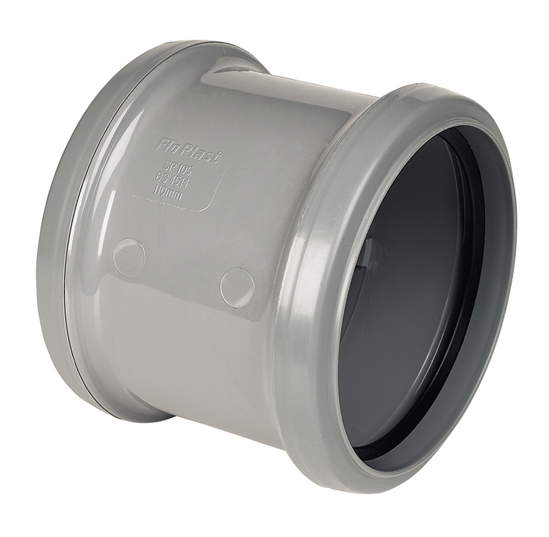 "Floplast SP105GR 110mm/4"" Ring Seal Soil System - Coupling Double Socket - Grey"