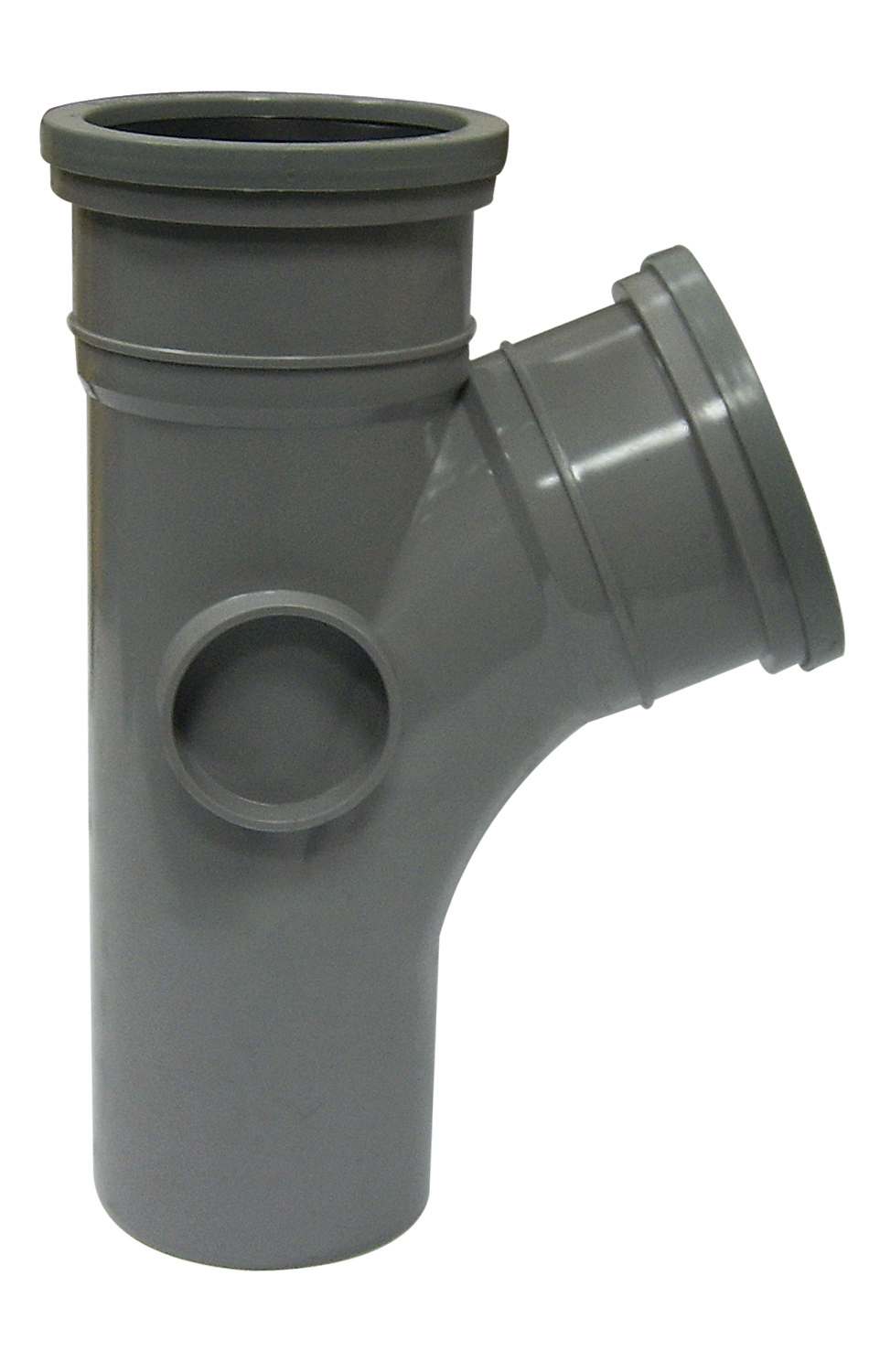 "Floplast SP200GR 110mm/4"" Ring Seal Soil System - 112.5 Degree Branch Double Socket - Grey"