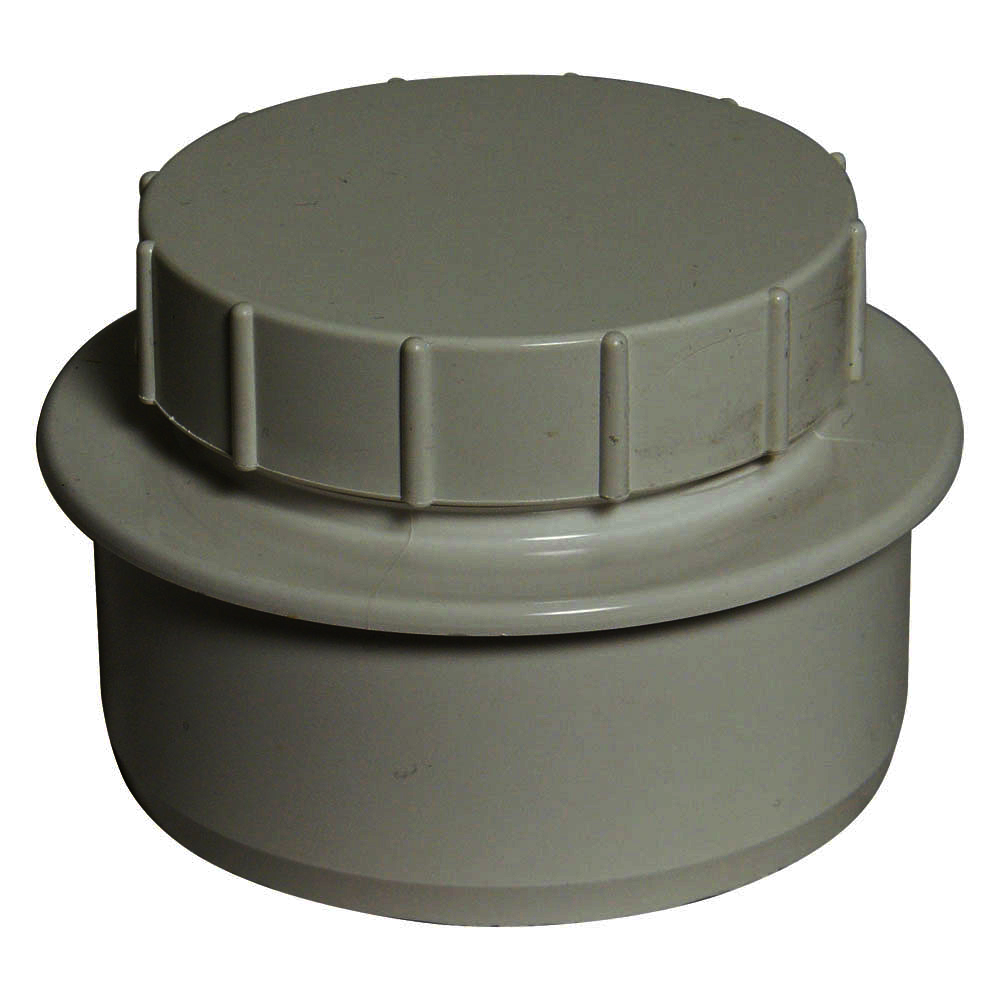 "Floplast SP292GR 110mm/4"" Ring Seal Soil System - Screwed Access Plug - Grey"