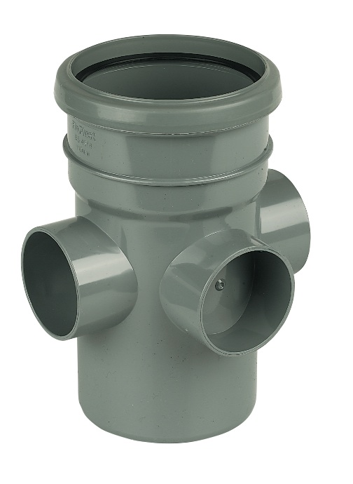 "Floplast SP581GR 110mm/4"" Ring Seal Soil System - Boss Pipe Single Socket - Grey"