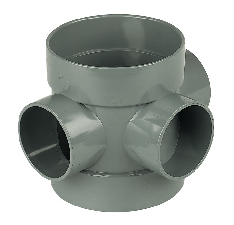 "Floplast SP583GR 110mm/4"" Ring Seal Soil System - Short Boss Pipe Double Solvent Socket - Grey"